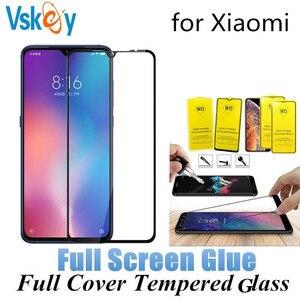 Image 1 - 100 pçs cola completa vidro temperado para xiaomi redmi nota 7 pro nota 4x 5a 6a 7a k20 y3 protetor de tela cobertura completa