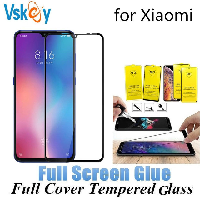 100 pçs cola completa vidro temperado para xiaomi redmi nota 7 pro nota 4x 5a 6a 7a k20 y3 protetor de tela cobertura completa