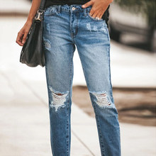 2021 mais novo quente das mulheres estiramento rasgado angustiado magro calças de brim de cintura alta shredded calças jeans jeggings jeans