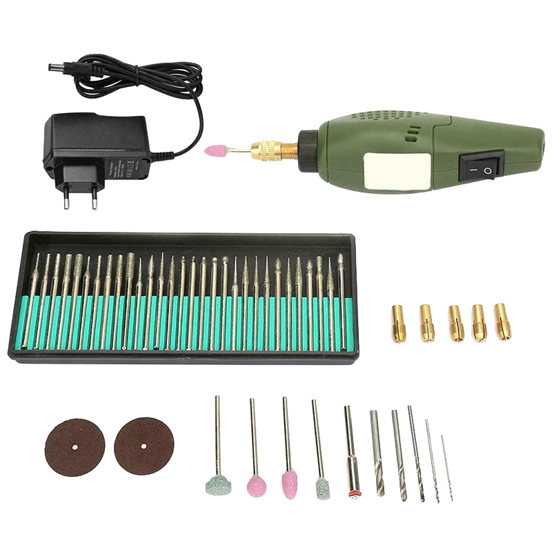 12V Dc Mini Electric Grinding Set Drill Grinder Tool For Drilling Polishing(Eu Plug)