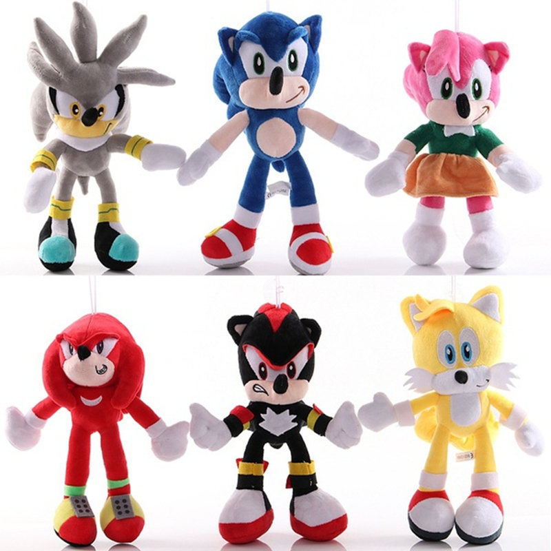 20cm-40cm Cool Anime Characters Hedgehog Plush Stuffed Toy SonicThe Shadow Knuckles And Tails Doll Kids Children Birthday Gifts
