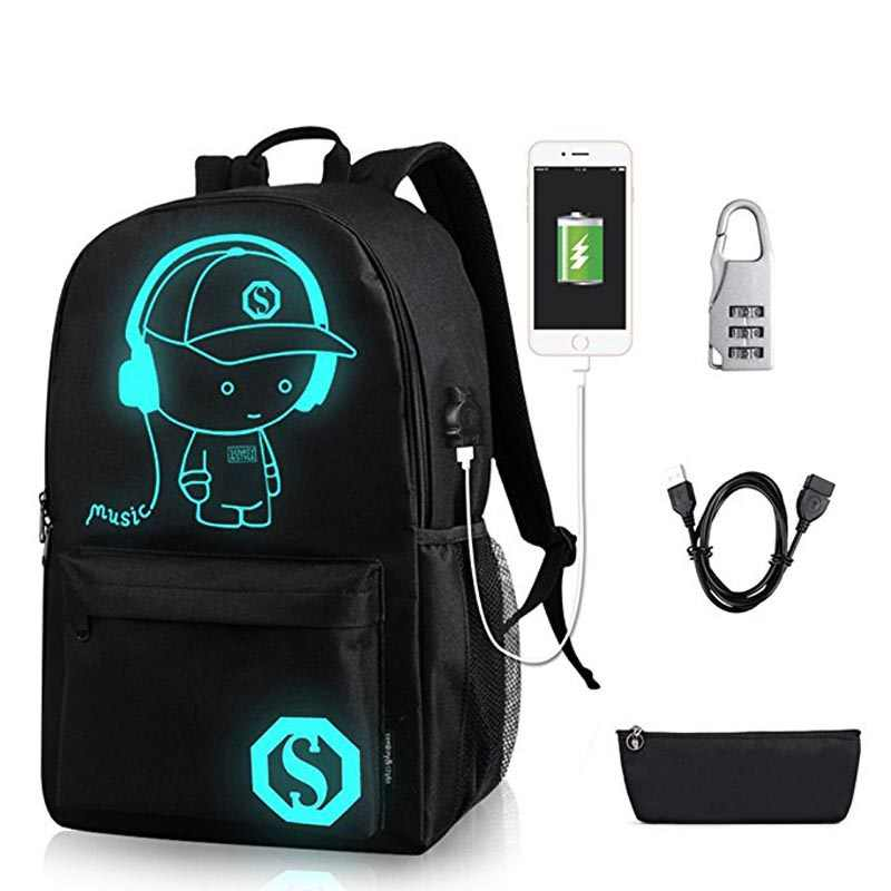 New Student School Bag Backpack Anime Luminous For Boy girls Daypack Multifunction USB Charging Port and Lock School Bag Black