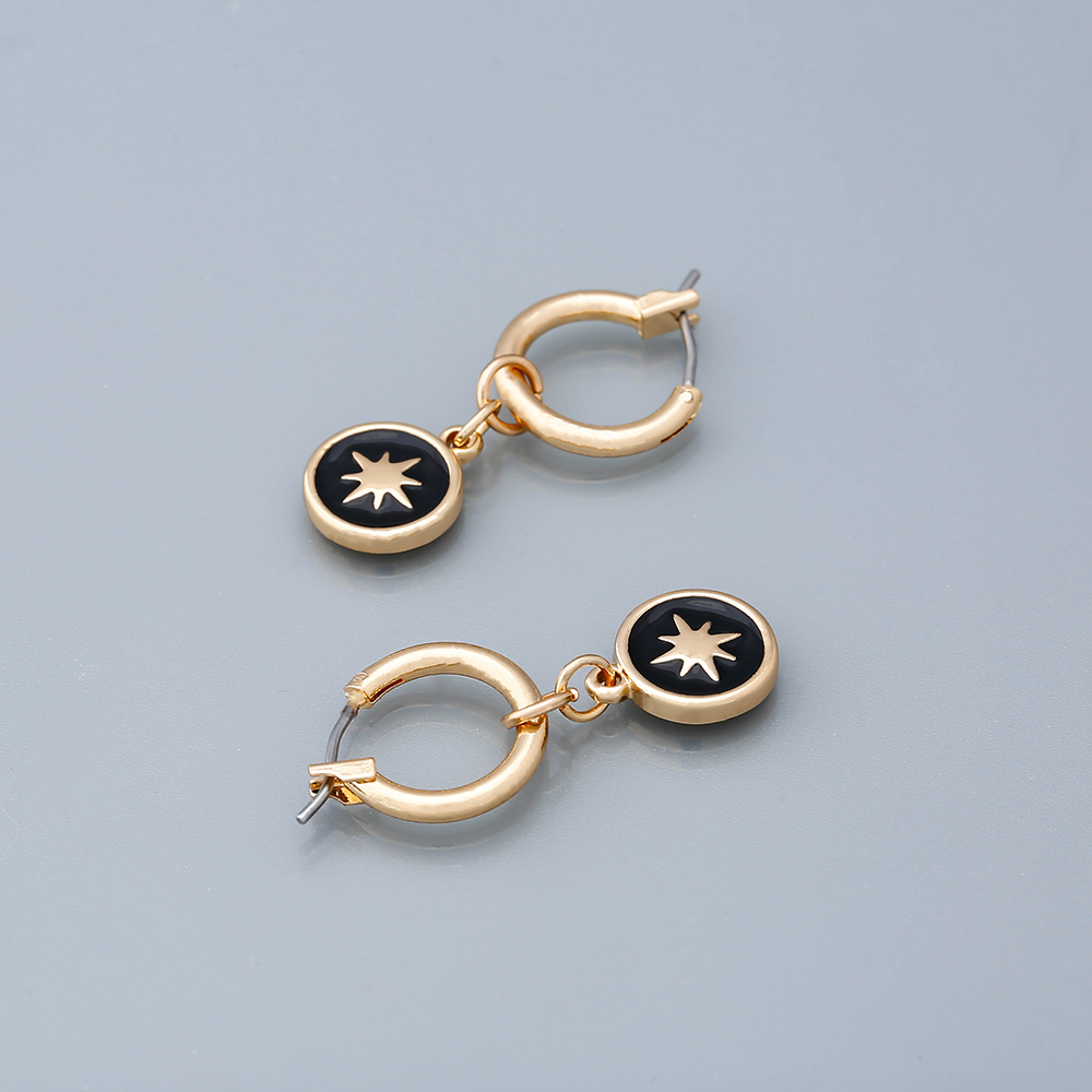 YMYW Trendy Vintage Black Enamel Round Drop Earrings Metal Simple Ethnic Charm Piercing Jewelry Women Holiday Brincos Oorbellen in Drop Earrings from Jewelry Accessories