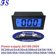 YB5135DB AC220V DC Ampere Medidor DC 200uA 200mA 10A 20A 50A 100A 200A 500A 1000A 75mV AC100-240V Atual Amp Medidor de Medidor De Energia