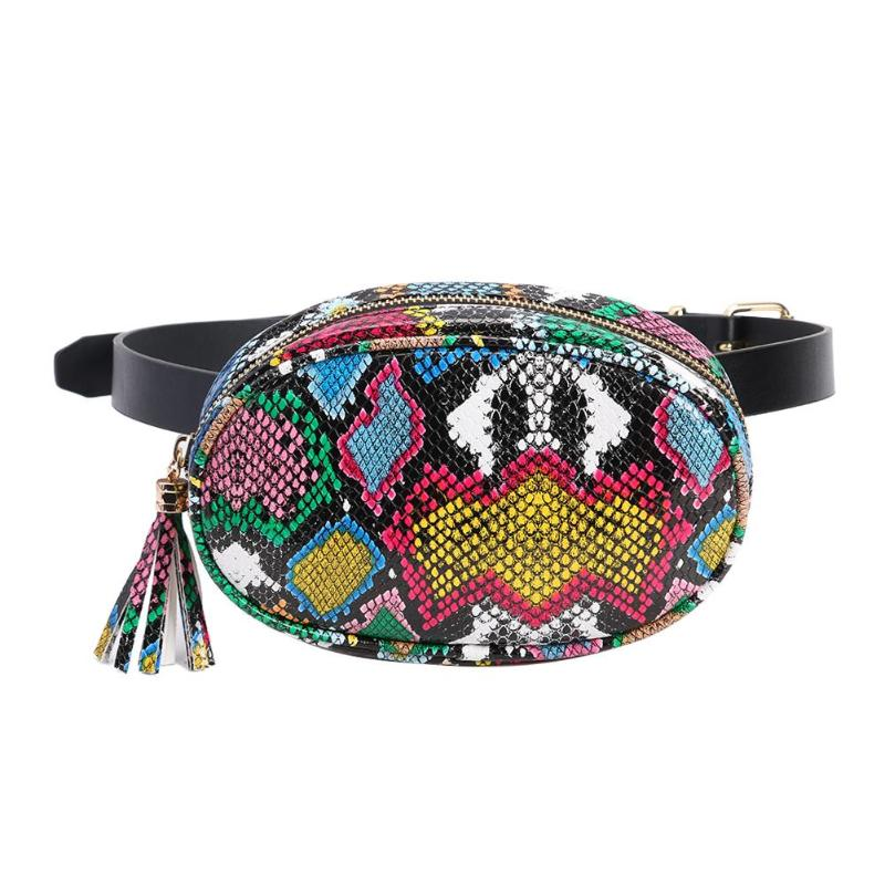 Serpentine Fashion Women's Waist Packs Brief Girls Sling Chest Bag Zipper Belt Bag For Women Ladies Fanny Bags Travel Waist Bags