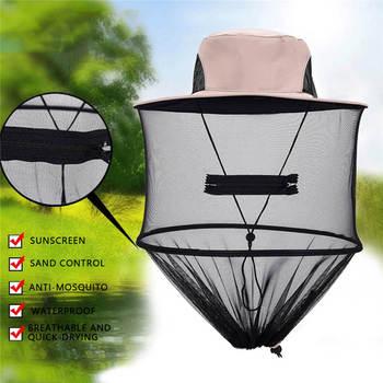 Mężczyźni kapelusz na lato ochrony przeciwsłonecznej na zewnątrz czapka sportowa Midge Mosquito owad wędkarskiego bakcyla siatki głową netto ochraniacz na twarz ochrony podróży kapelusz tanie i dobre opinie FLYMALL Drukuj NYLON balight hiking camping visor hat Parasolka