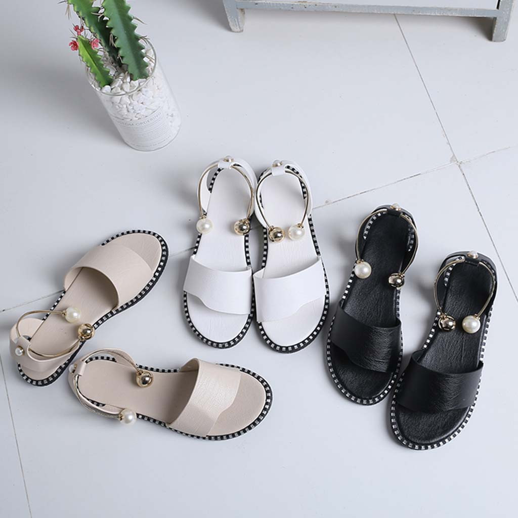 High Quality Women's Sandals Ladies Fashion Solid Round Toe Pearl Buckle Causal Sandals Soft Shoe Sandalias De Verano Para Mujer