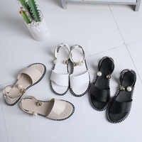 Sandalias De mujer De alta calidad De moda Para damas De punta redonda sólida hebilla De perla Sandalias casuales zapatos suaves Sandalias De Verano Para mujer