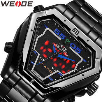 WEIDE Watch Men Relogio Analog Movement Luxury Brand Bussiness Quartz Waterproof Military Wrist Relogio Masculino Men's Watches weide wh 1009 br stainless steel analog led digital quartz waterproof wrist watch black red