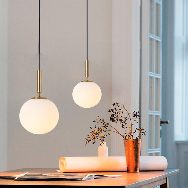 Modern Copper Sliver Shade Mirror Chandelier Light E27 Led Pendant Lamp Modern Christmas Glass Ball Lighting Ing Deco Maison