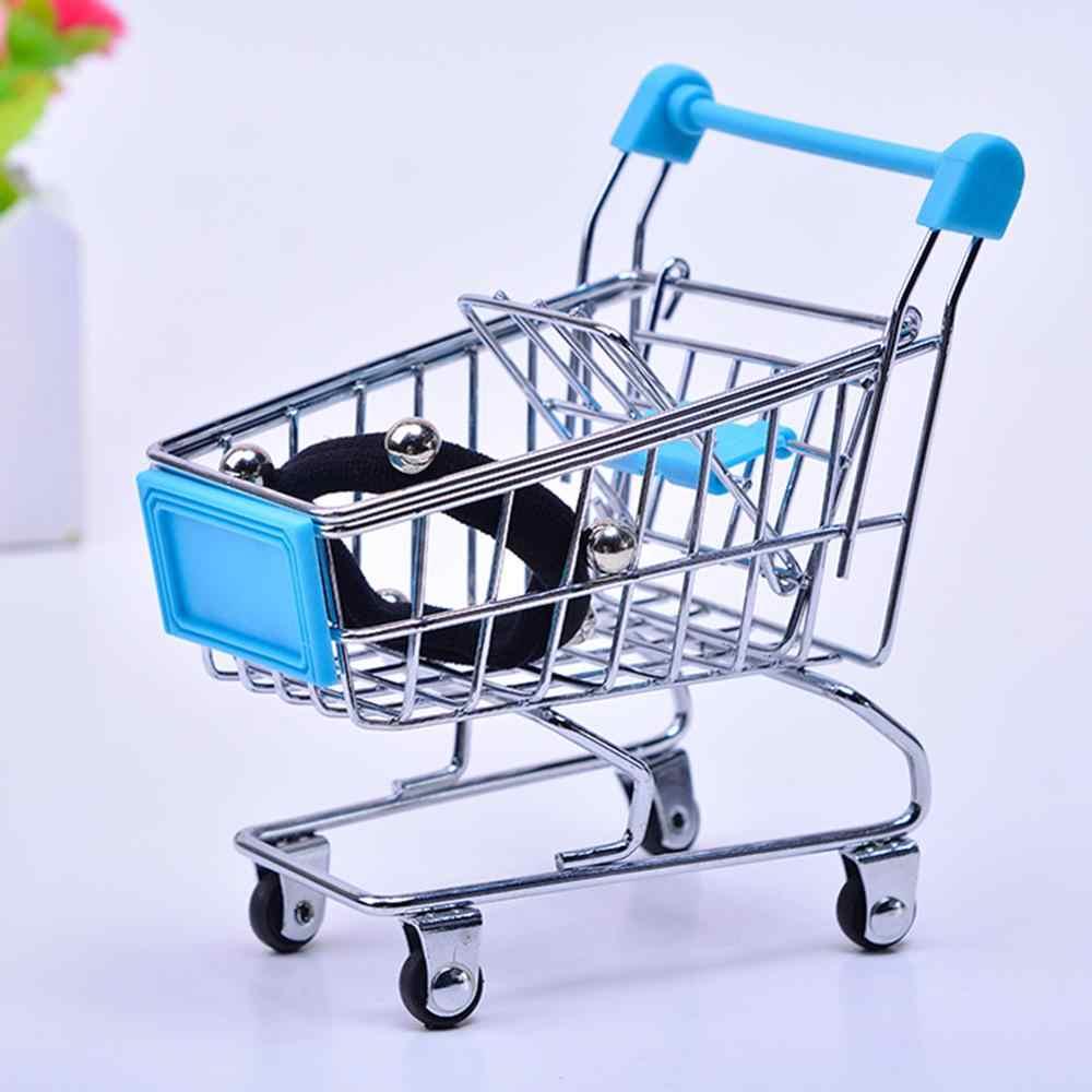 Brinquedo do bebê Mão Mini Carrinho de Compras de Supermercado de Desktop de Armazenamento De Decoração Acessórios Para Móveis Casa De Bonecas de Brinquedo de Presente