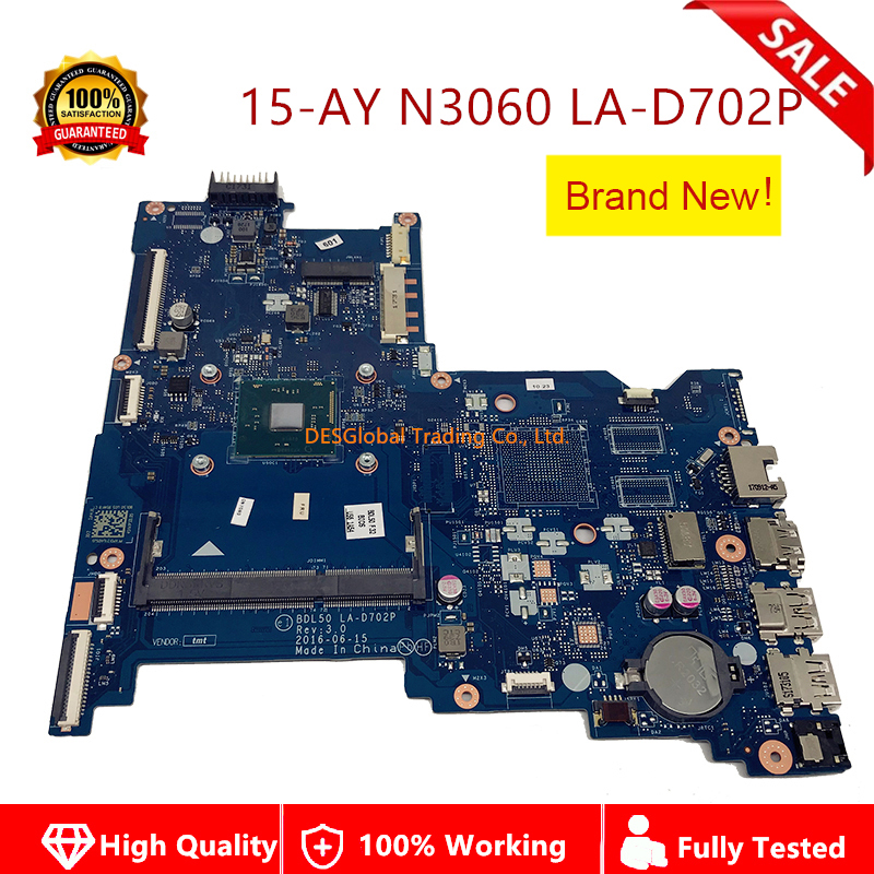 Brand New 854944-601 Mainboard For HP 250 G5 15-AY Laptop Motherboard SR2KN N3060 BDL50 LA-D702P 854944-001 854944-501 100% Test