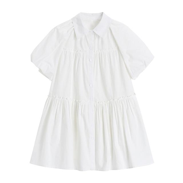 Fashion Elegan White Mini Dress Women Short Sleeve Summer Party Birthday Festival Sweet Cute Sexy French Romantic Vintage Dress 3