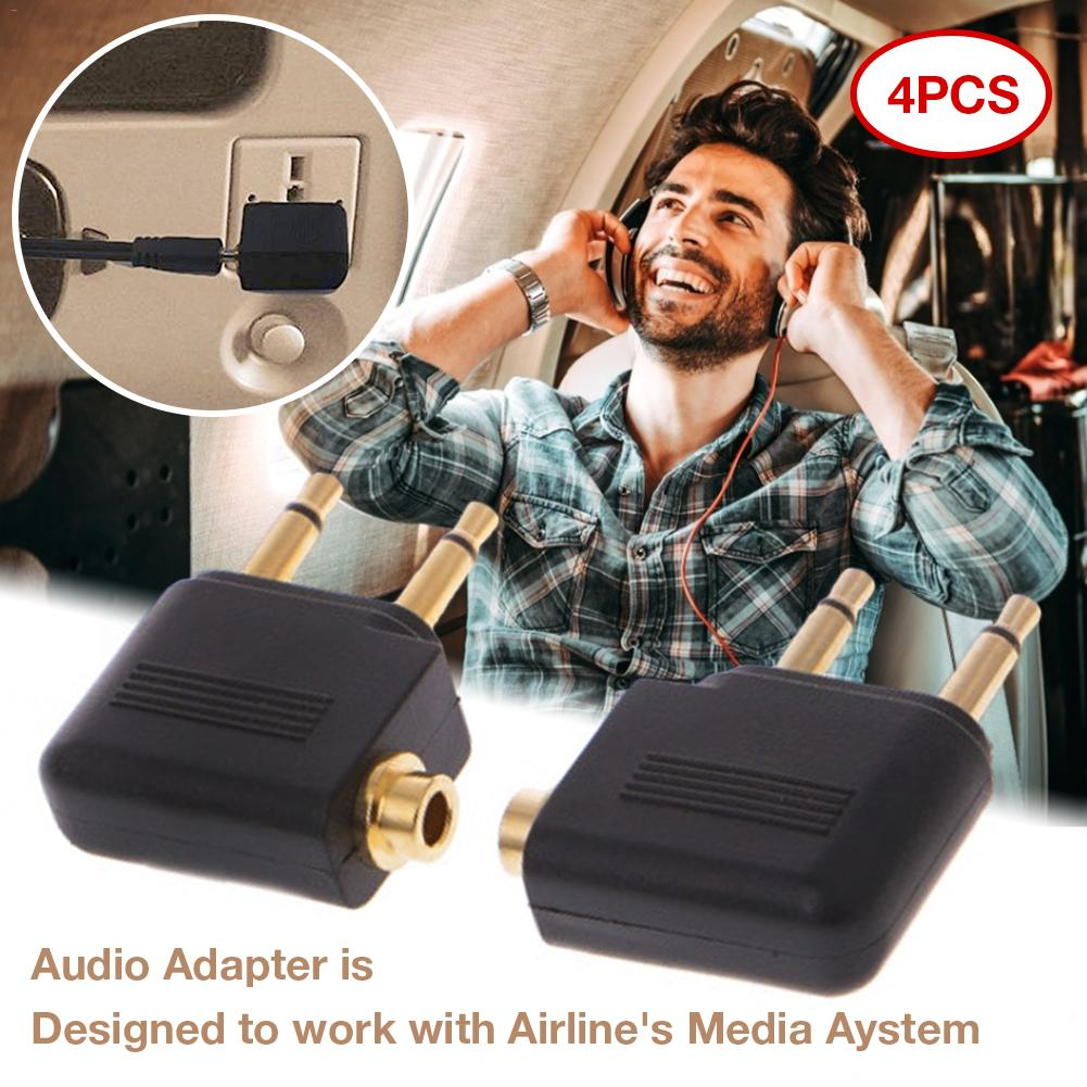 4PCS/Set 3.5mm Jack Audio Adapter Airline Airplane Travel Traveling Earphone Headphone Headset Jack Adapter Hot Wholesale image