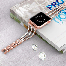 chain with diamonds strap For Apple Watch 3 band 44mm 40mm metal strap For iWatch serise 5 4 2 for apple watch 6 strap 38mm 42mm