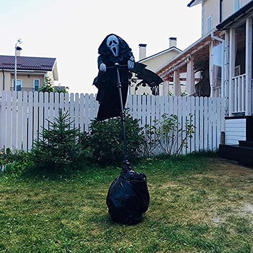 New Creative Garden Ghostface Scarecrow Yard Art Hanging Scary Scream Ghost Halloween Scream Ghostface Scarecrow Outdoor Decor