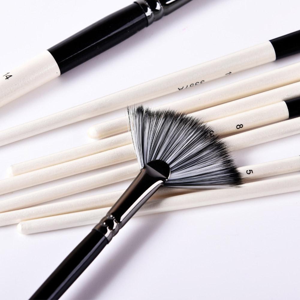 DealÏ9Pcs Paint Brushes Black White Nylon Hair Mixed Head Brush Set