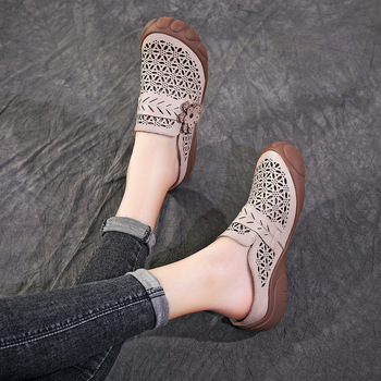 Women Mules Slippers Leather Summer Shoes For Women Beige Low Heels Slippers Embroidery Flower Retro Shoes Soft Genuine Leather