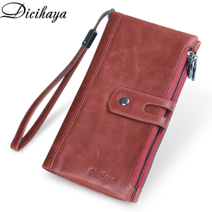 Image 1 - DICIHAYA Brand Genuine Leather Women Wallet Red Purse Ladies Clutch Purses Card Holder Women Phone Bags Double Zippers Wallets
