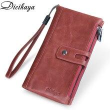 DICIHAYA marka prawdziwej skóry kobiet portfel czerwony torebka damska torebki kopertówki posiadacz karty kobiety etui na telefony podwójne zamki portfele
