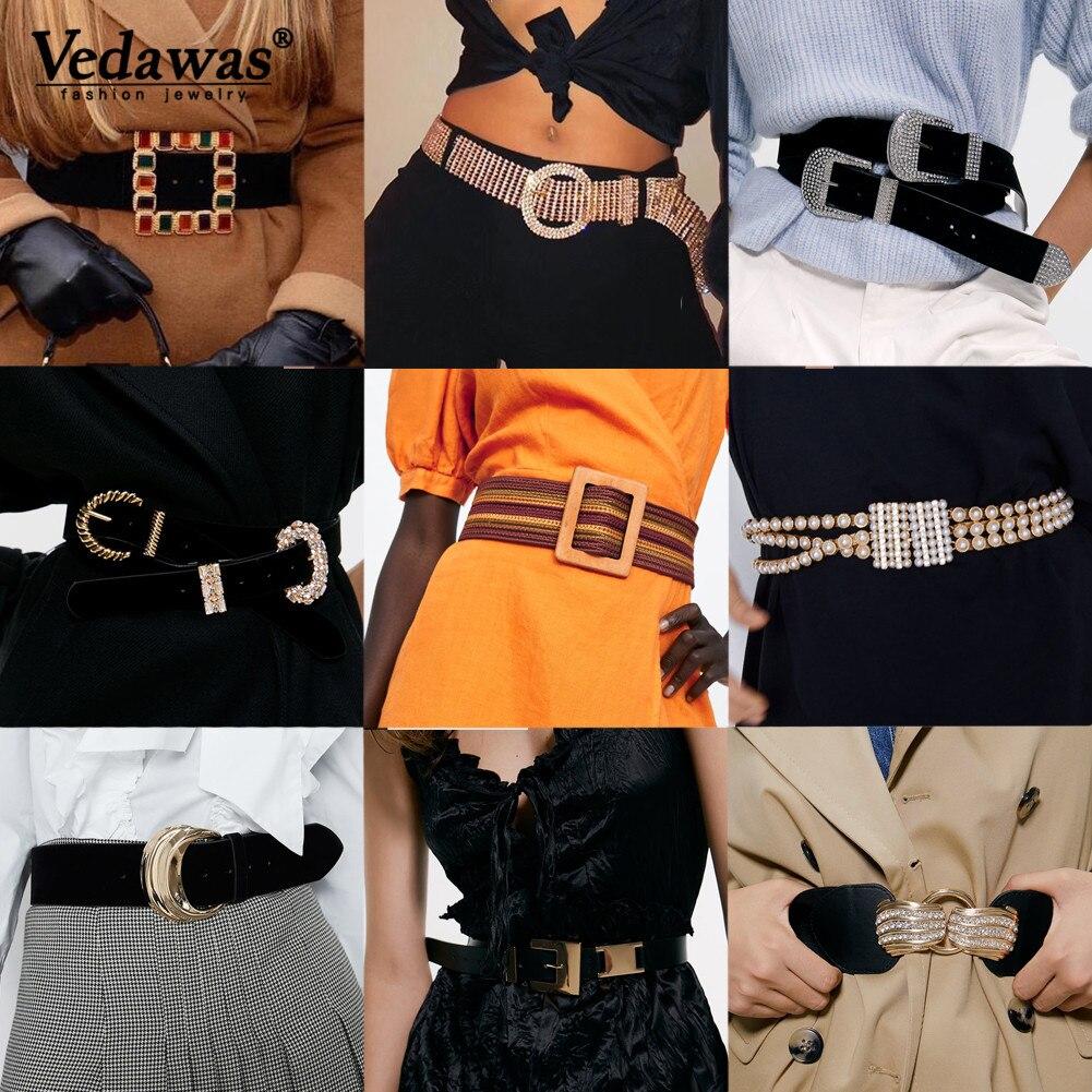 Vedawas ZA Solid Gold Color Metal Buckle Belt For Women Trendy Black Leather Velvet Waist Belt Female Waistbands Gift Wholesale
