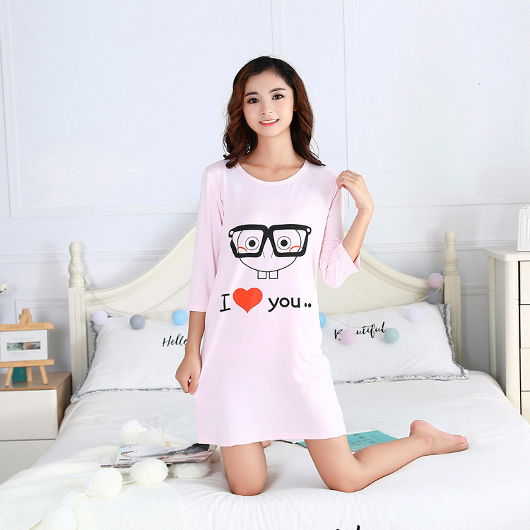 Hongya Blue Tracksuit Summer Solid Color Nightgown SpongeBob-One-Piece 557