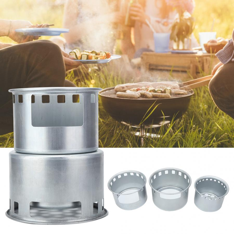 Portable Stainless Steel Outdoor Camping Survival Wood Burning Stove Picnic BBQ