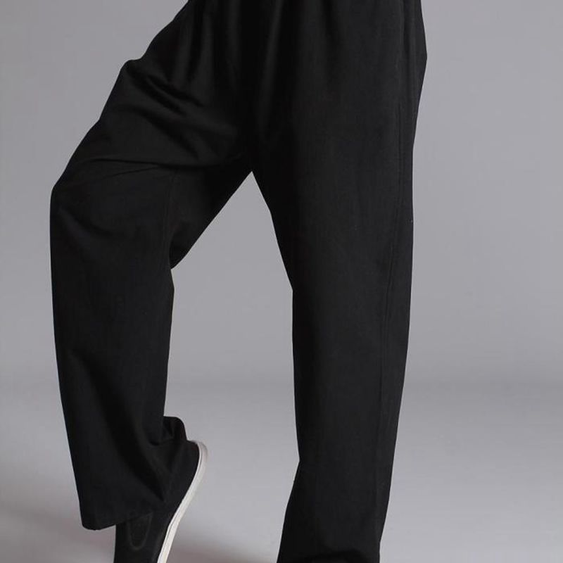 Men Pants Cotton Chinese Traditional Men's Kung Fu Pants Wu Shu Tai Chi Elastic Waist Loose Long Trousers