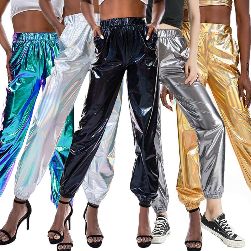New Women Metallic Shiny Jogger   Pant   Casual High Waist Holographic Color Trouser Reflective Casual Gray Solid   Pants   Streetwear