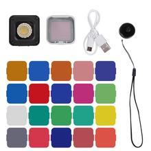 Ulanzi L1 Pro çok fonksiyonlu Mini LED Video işık 10M su geçirmez 20 renkli filtreler için Gopro/DJI OSMO cep eylem kameraları