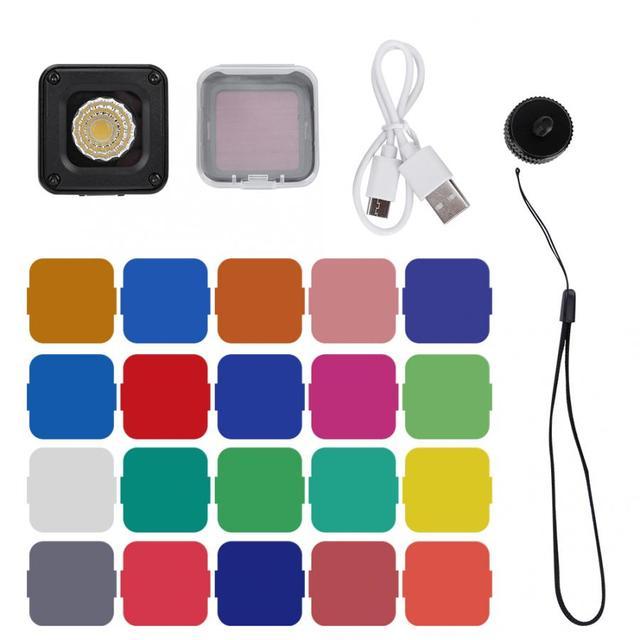 Ulanzi miniluz LED multifunción L1 Pro para vídeo, 10M, resistente al agua, con 20 filtros de colores para cámaras de acción de bolsillo Gopro/DJI OSMO