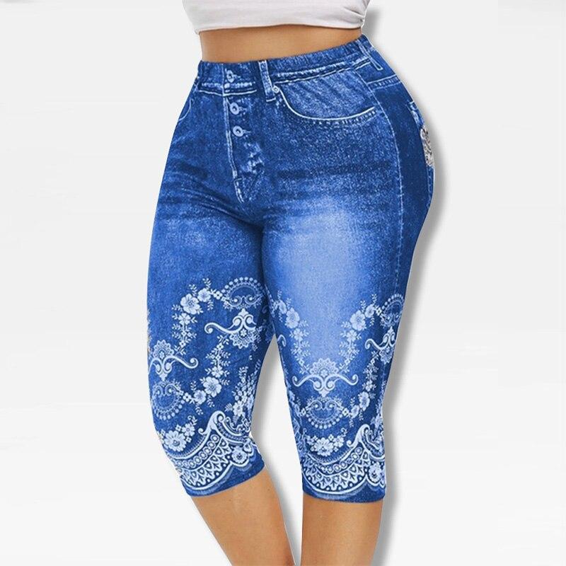Printed False Denim Yoga Pant 3\4 Women Jeans Leggings High Waist Breeches Capri Pants Super Elastic Jeggings Plus Size 5XL