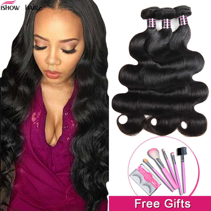 Ishow Hair Body Wave Bundles Brazilian Hair Weave Bundles 100% Human Hair Bundles 3 4 Bundles Brazilian Body Wave Hair Non-Remy