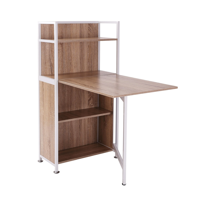 HOMCOM Cabinet Corner With Desk Computer Pull Wooden MDF