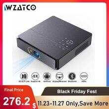 WZATCO S5 taşınabilir MINI DLP 3D projektör 4K 5G WIFI akıllı Android ev sineması Beamer Full HD 1080P Video lazer projektör