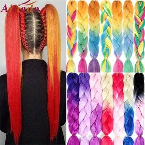 AILIADE 24 inch Jumbo Braids Long Ombre Synthetic Braiding Kanekalon Hair Extensions Crochet Blonde African White Black Women(China)