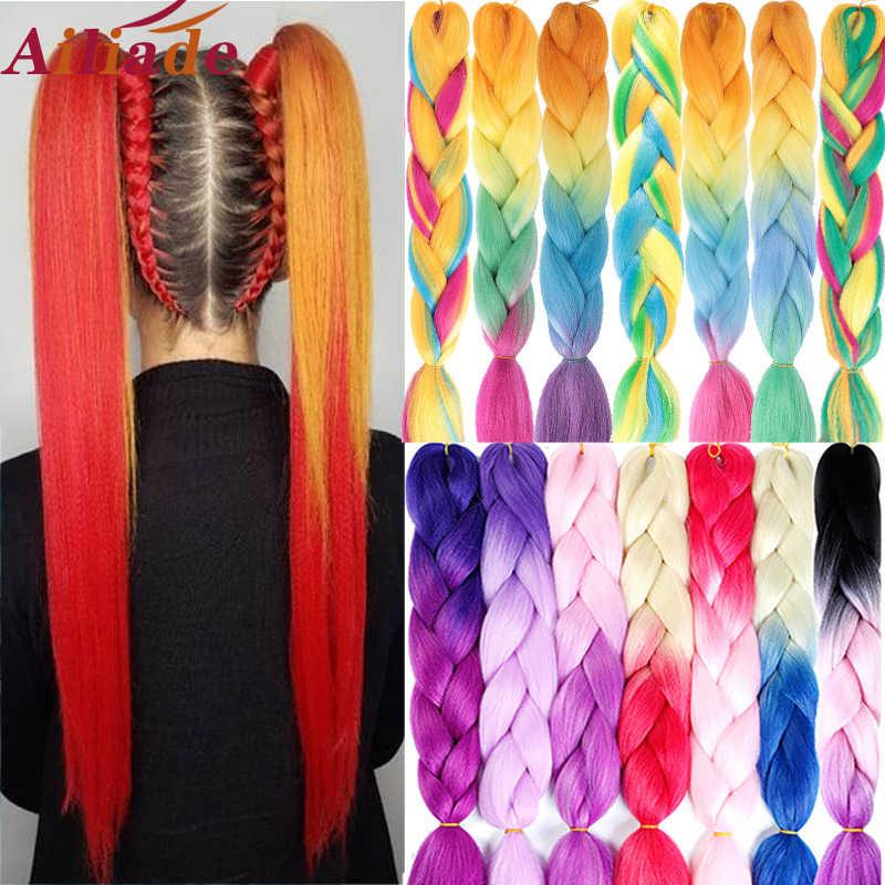 Ailiade 24 Inch Jumbo Vlechten Lange Ombre Synthetische Vlechten Kanekalon Hair Extensions Haak Blonde Afrikaanse Wit Zwart Vrouwen