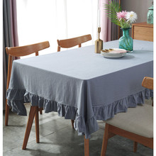 Simple Modern Tablecloths Full Cotton Lotus Edge 2 Color Dining Table Cloth Fresh Style Kitchen Cover