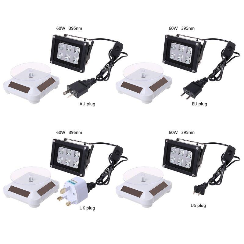 60W High Strength 395nm UV LED Resin Curing Light Lamp Solar Powered Turntable 3D Printer Part