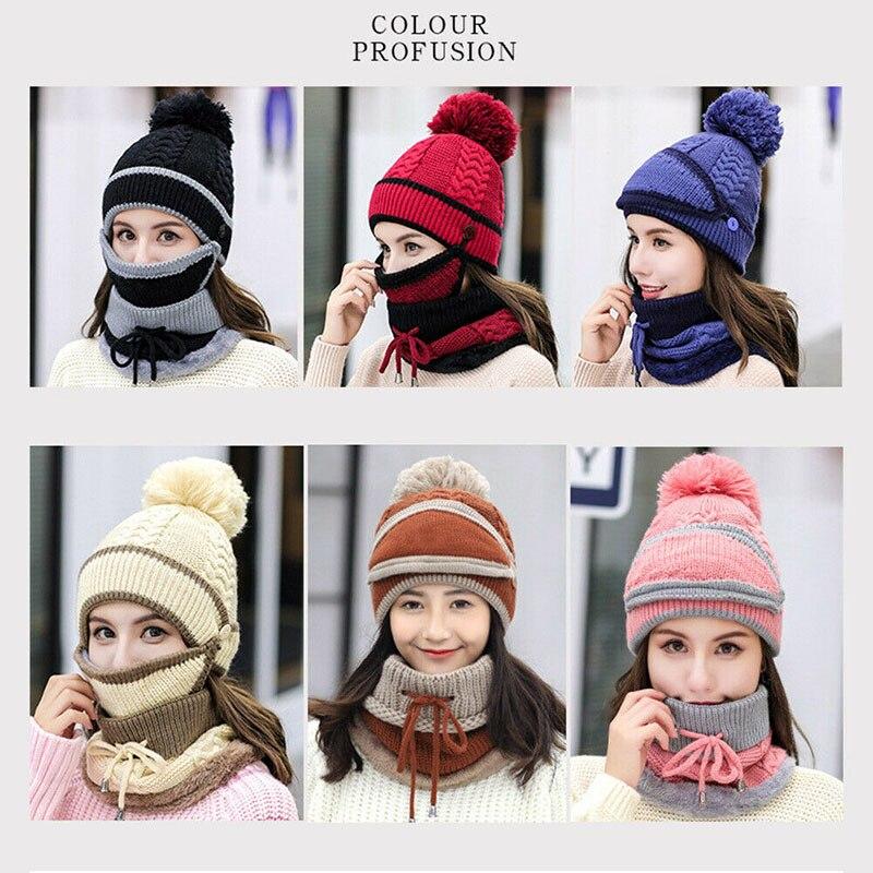 Women Knitted Beanie Scarf Hat Face Mask Set Snood Neck Winter Pompom Cap Thicken EIG88