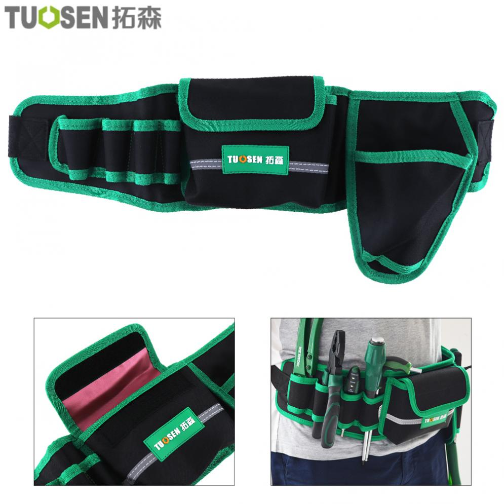 Multifunction Durable Waterproof Waist Tool Bag With 4 Holes 1 Pocket And Electric Drill Pocket For Home /Industrial Maintenance