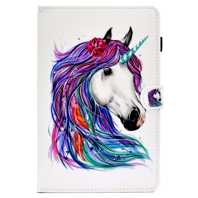 4 Green For New iPad 10 2 inch model A2197 Cover Painted Puppy Cat Unicorn Leather Book Stand