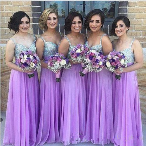 Lavender 2019 Cheap Bridesmaid Dresses Under 50 A-line Spaghetti Straps Chiffon Beaded Long Wedding Party Dresses