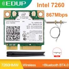 Edup 1200mbps intel n7260 pcie wifi placa de rede sem fio banda dupla 7260hmw bluetooth 802.11 ac pci express wifi adaptador antena