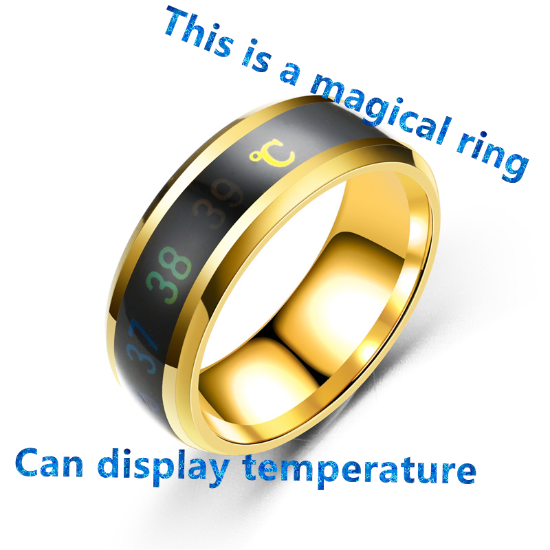 2019 European and American fashion new intelligent warm couple ring mood temperature shows the source of the ring