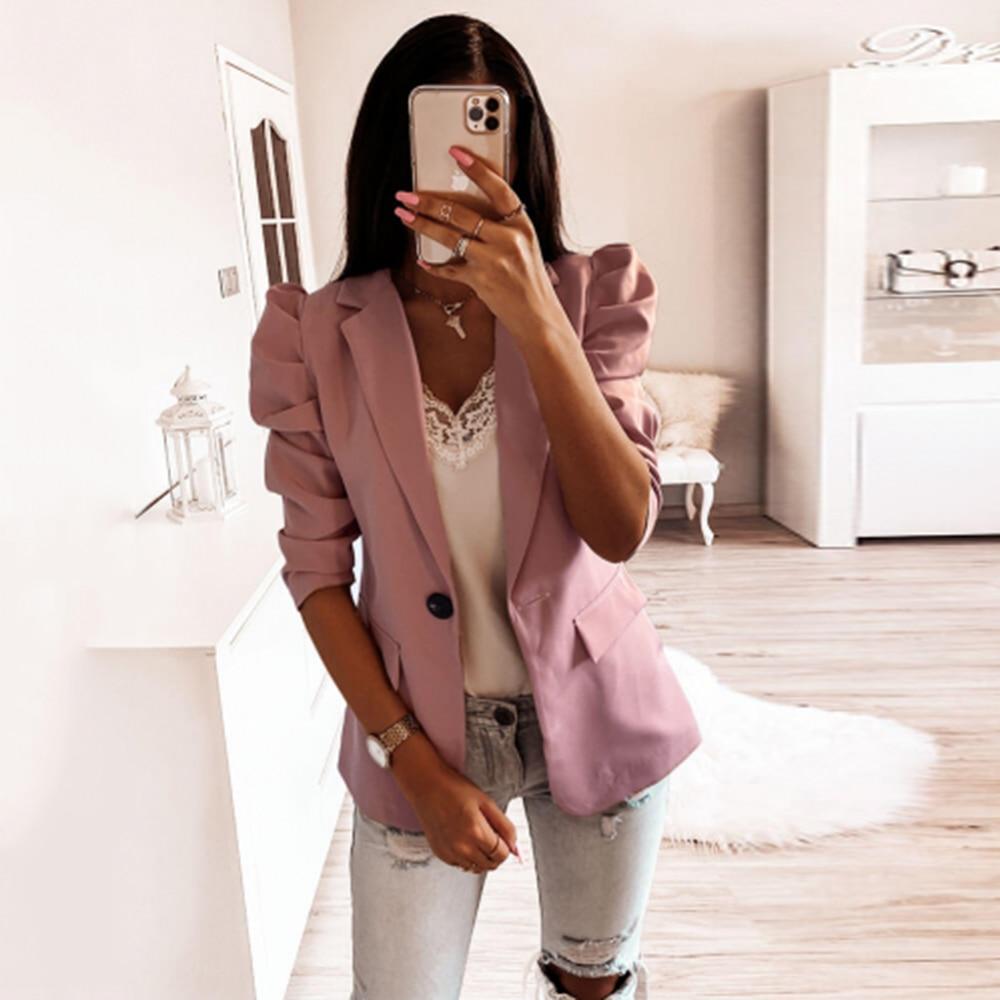 Women Coat Spring Summer Casual Lapel Sleeve Soild Color Half Sleeve Coat Fashion Slim Fit Single Button Pleated Jacket D30
