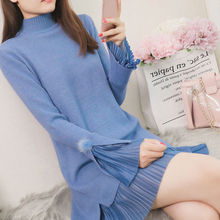 Fake Two Knitted Dress Female 2020 Autumn Winter Flared Sleeves Casual Loose Pleated Dresses Women Chiffon Stitching Turtle-neck
