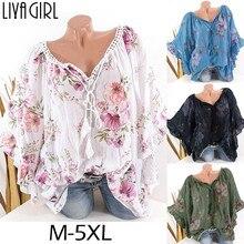 Big Size M-5XL 2019 Women Blouse Tops Summer Casual Loose Short Sleeve Lace V-neck Top Plus Size Floral Print Blouses  Blusa