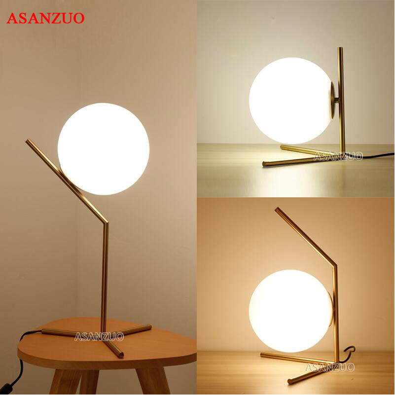 Light Shade Glass Ball Table Lamp