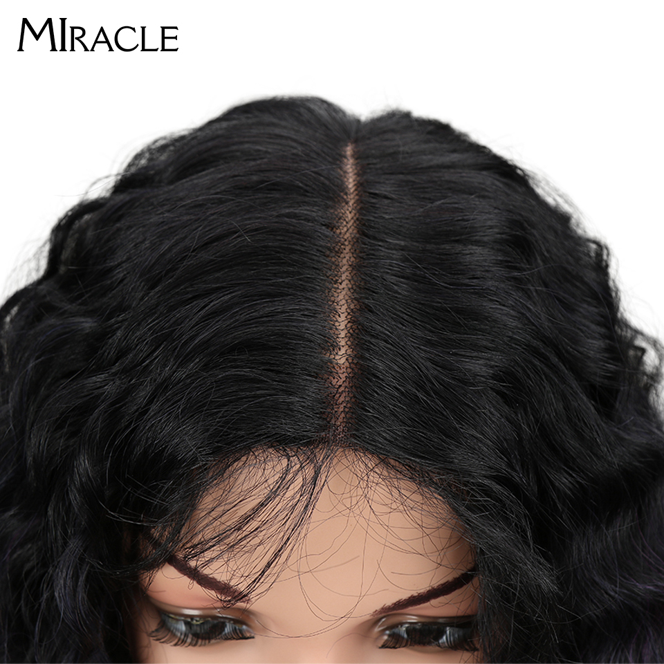 "Image 3 - Miracle Hair Ombre Wig Kinky Curly Deep Middle Part Lace Wigs 150 Density Long 28"" Heat Resistant Synthetic Wigs For Black Women-in Synthetic None-Lace  Wigs from Hair Extensions & Wigs"